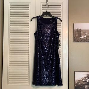 NWT MSK Navy Blue Sequin Dress